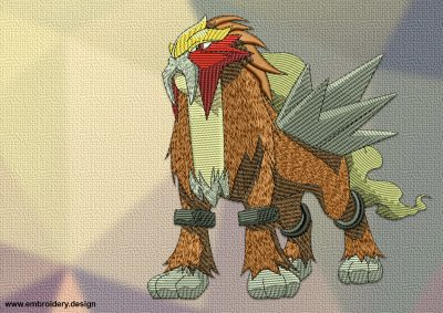 The embroidery design Entei Pokemon is a massive lion