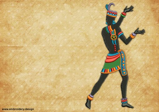 The embroidery design Ethnic moves depicts a ritual dance