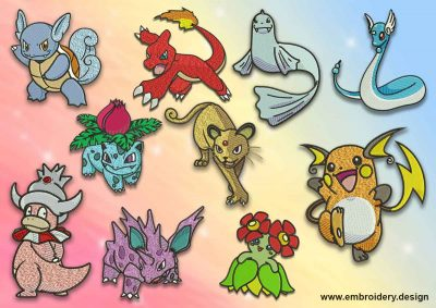 The pack of embroidery designs Evolutions of different pokemon