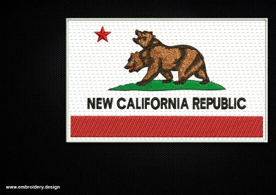 The embroidery design Fallout New California Republic Flag can be made as a patch.