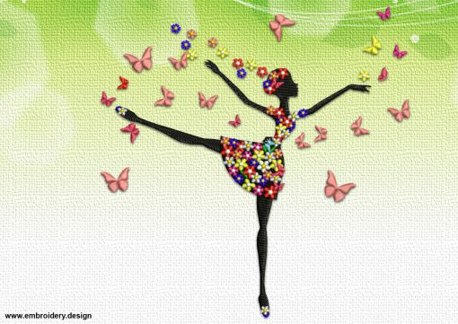 The embroidery design Floral ballerina will look great on interior textile