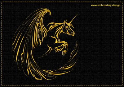 The embroidery design Flying Unicorn