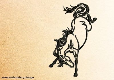 The embroidery design Frisky Horse was created with well-tested technique of satin stitching outlines