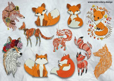The pack of high quality embroidery design Funny foxes