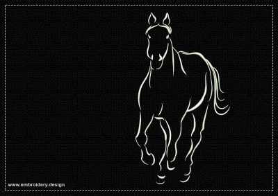 The embroidery design Galloping Horse depicts this amazing animal running towards the viewer.