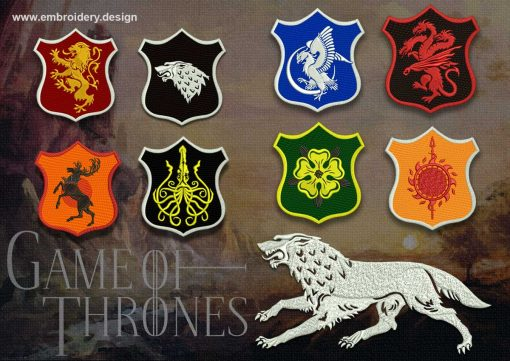 The pack of embroidery designs Games of Thrones contains 9 qualitative downloadable items.