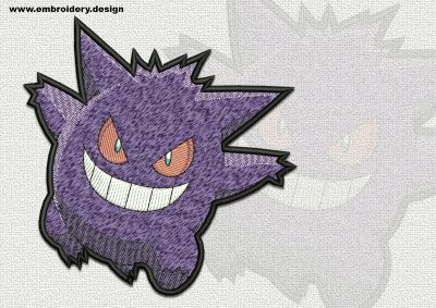 The qualitatively digitized embroidery design Gengar Pokemon
