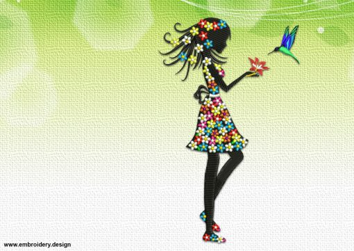 The embroidery design Girl feeding Hummingbird is suitable for women's blouses, t-shirts, and dresses
