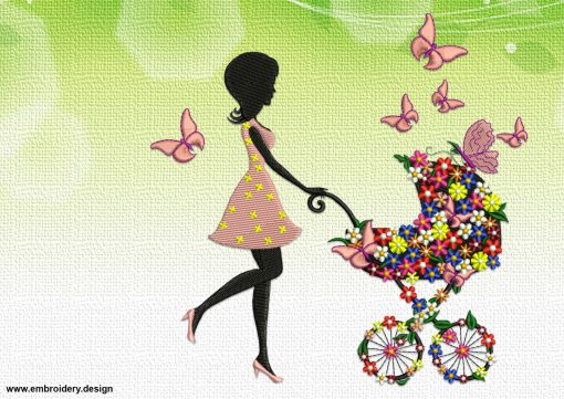 The embroidery design Girl with a pram was tested and created in EmbroSoft Studio