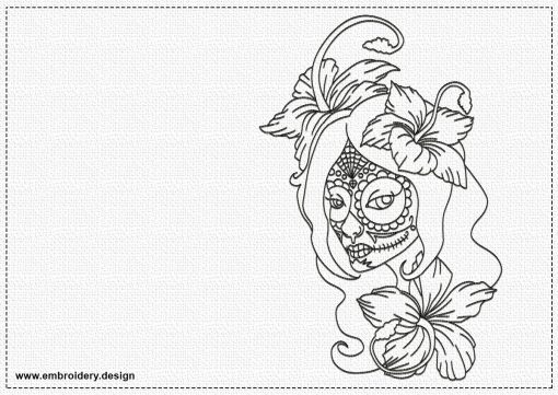 The embroidery design Girl with flowers contains only one-colored run stitch elements.