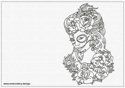 The embroidery design Girl with skull depicts portrait of amazing girl.