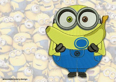The embroidery design minion Happy Bob with banana