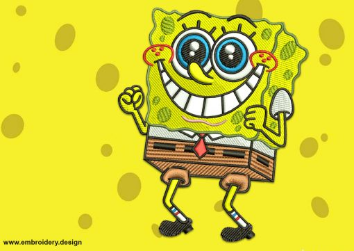 The embroidery design Happy SpongeBob was by digitized and tested in EmbroSoft Studio