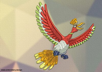 The embroidery design Ho-oh Pokemon, that was inspired by the Phoenix symbol