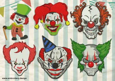 The pack of embroidery designs Horrendous Clowns contains 6 designs