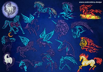 This Pack of horses, unicorns and Pegasus design was digitized and embroidered by www.embroidery.design.