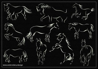 The pack of embroidery designs Horses variety is provided with 10 outline monochromatic designs.
