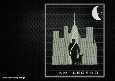 The embroidery design depicts I Am Legend Collage