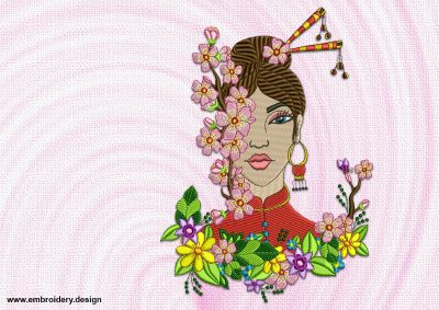 The embroidery design Japanese girl with flowers was created in EmbroSoft studio