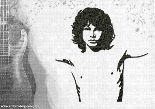 The embroidery design Jim Morrison, the vocalist of the famous band The Doors.