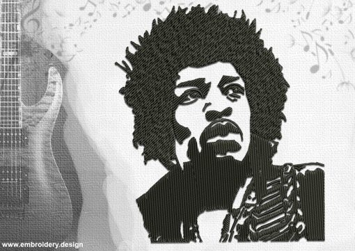 The embroidery design Jimi Hendrix is digitized using multiple small parts