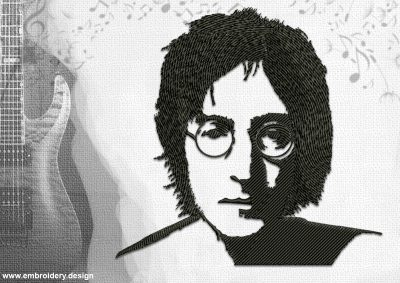 The embroidery design John Lennonm who is considered to be the voice of the generation.