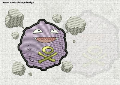 The qualitatively digitized embroidery design Koffing Pokemon