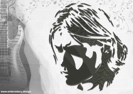 The embroidery design Kurt Cobain is well recognizable.