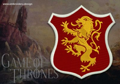 The embroidery design Lannister shield from Game of Thrones was made as patch applique.