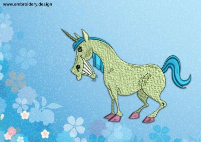The embroidery design Laughing Unicorn