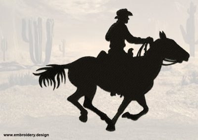 The embroidery design Leisurely Cowboy provides in 3 sizes
