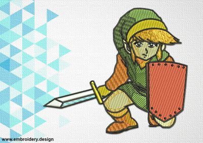 The embroidery design Link of The Legend of Zelda will embroider better on dense fabrics