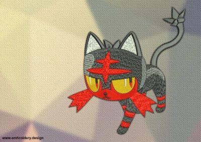 The embroidery design Litten Pokemon is a small kitten-like Pokemon