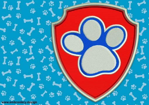 The embroidery design Logo of Dogs Paw from Paw Patrol is instantly downloadable