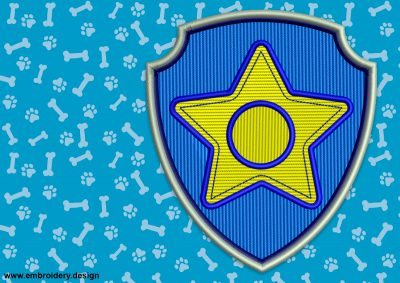 The embroidery design Logo of Chase from Paw Patrol can be made as a patch