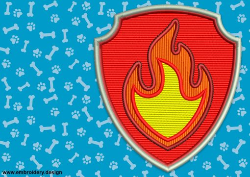 The embroidery design Logo of Marshall from Paw Patrol is a fireman