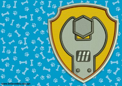 The embroidery design Logo of Rubble from Paw Patrol looks great on various fabric