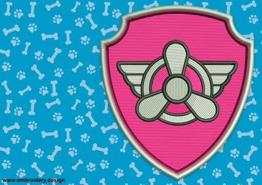 The embroidery design Logo of Skye from Paw Patrol can be stitched out as a patch