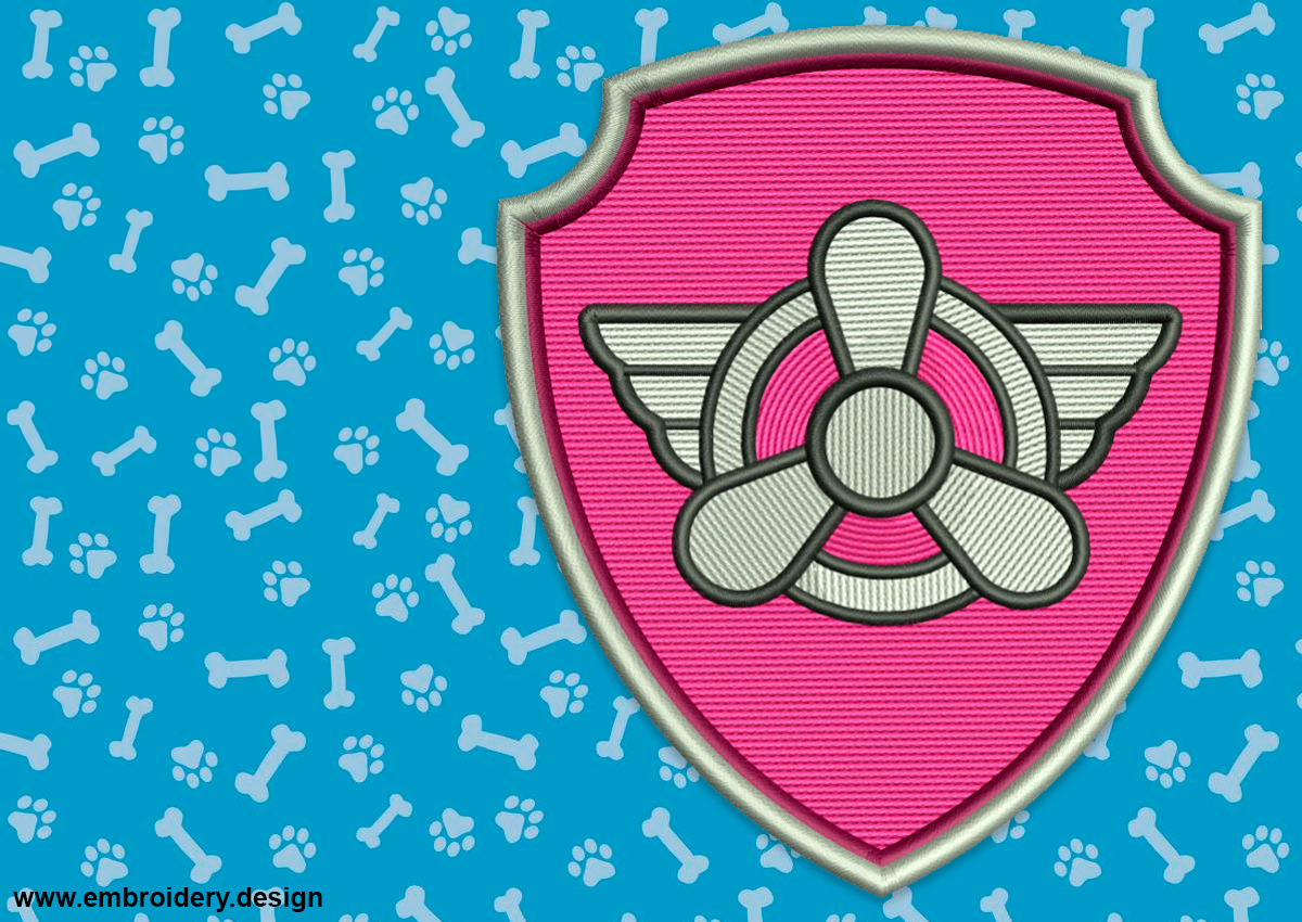 Paw Patrol Machine Embroidery Designs Paw Patrol Skye Number 1 applique embroidery design Instant download #040 Embroidery designs baby