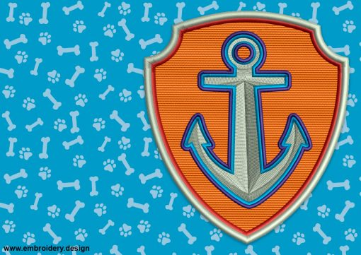 The embroidery design Logo of Zuma from Paw Patrol looks like anchor