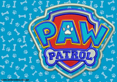 The embroidery design Logo of Paw Patrol consists of all cartoons badges