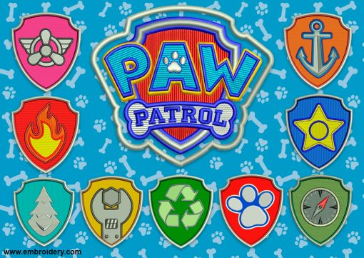 The pack of embroidery designs Logo of dogs from Paw Patrol consists of 10 items