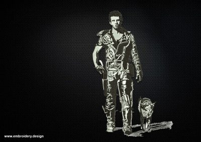 The high quality embroidery design Mad Max and Dog was created using only 3 colors.