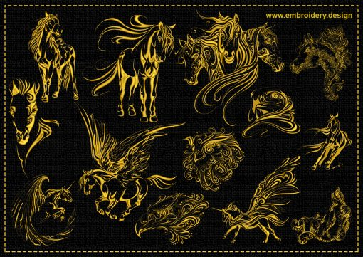 The pack of embroidery designs Magical creatures