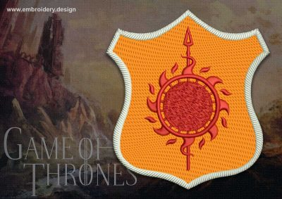 The embroidery design Patch Applique Martell shield from Game of Thrones was digitized and tested in EmbroSoft Studio.
