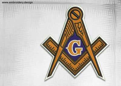The qualitative embroidery design Masonic emblem with letter G