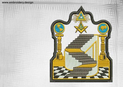 The qualitative embroidery design Masonic emblem with stairs