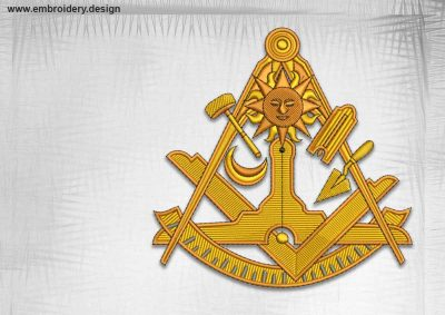The qualitative embroidery design Masonic emblem with sun