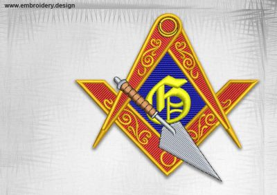 The qualitative embroidery design Masonic logo trowel