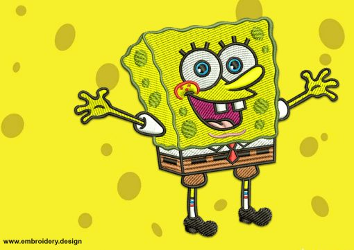 The embroidery design Matey SpongeBob will look great on any clothes